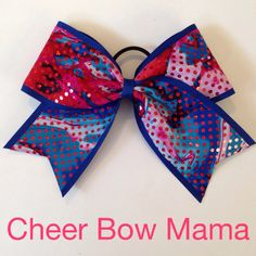 Red & Blue Swirly Cheer Bow  by CheerBowMama on Etsy