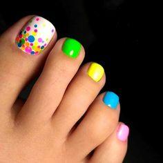 Wonderful Toe Nail Art Designs Ideas 2018 – Nails C - Diy Nail Designs Fall Toe Nails, Cute Toe Nails, Summer Toe Nails, Toe Nail Art, Diy Nails, Bright Toe Nails, Neon Toe Nails, Beach Toe Nails, Acrylic Nails