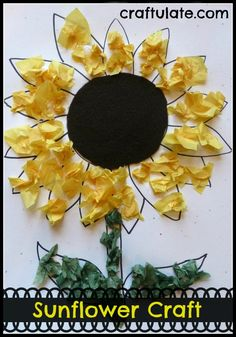 Sunflower Crafts for Kids to Make - Crafty Morning Crafts For Kids To Make, Projects For Kids, Art For Kids, Art Projects, August Kids Crafts, Daycare Crafts, Toddler Crafts, Kid Crafts, Paper Crafts