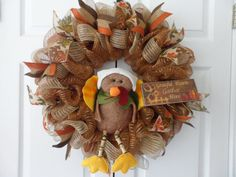 Deco Mesh Wreath for Thanksgiving & Fall with a Turkey sitting in the center!