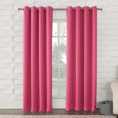 Sun Zero Grant Room Darkening Grommet 54 x 84 Curtain Panel - Window Treatments - For The Home - Macy's Pink Curtains, Room Darkening Curtains, Grommet Curtains, Blackout Curtains, Window Curtains, Curtain Panels, Patterned Curtains, Cotton Curtains, Window Panels
