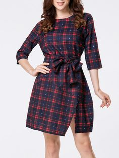 Round Neck Side Slit Removable Tie Plaid Skater Dress Only $28.95 USD More info...