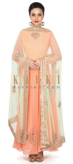 Peach anarkali suit adorn in kundan embroidered butti only on Kalki