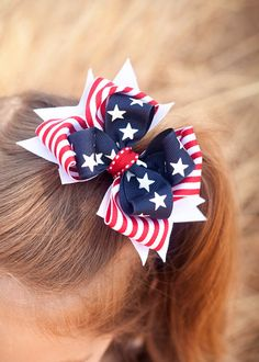 Hair Bow of July Stars and Stripes Spikes of July Boutique Bow Navy Bow Red Bow Alligator Clip of July Hair Ribbons, Diy Hair Bows, Ribbon Hair, Bow Hair Clips, Ribbon Bows, Homemade Hair Bows, Ribbon Flower, Fabric Flowers, How To Make Hair