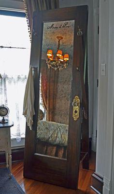 Full Length Standing Mirror – Vintage Door Standing Mirror with Hooks - Diy mirror Old Closet Doors, Old Doors, Front Doors, Diy Mirror, Mirror Door, Mirror House, Mirror Bathroom, Sunburst Mirror, Wall Mirrors