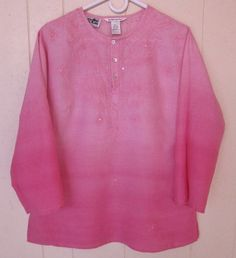 Richard Malcolm Pink Irish Linen Embroidered Tunic Boho Hippie Top Women's Sz L  #RichardMalcolm #Tunic