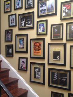 Collection of Playbills from trips to NYC/cool idea to line basement stairs.