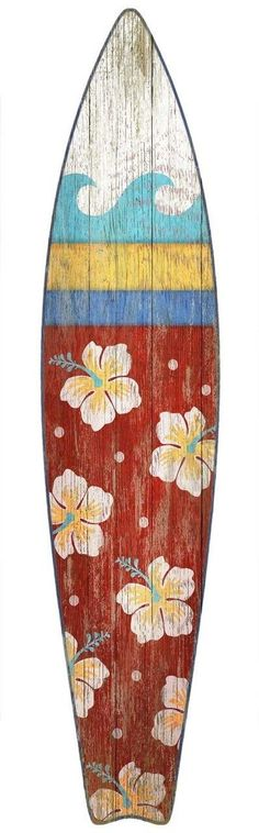 How adorable is this beach art? Love this brightly, multi-colored red, blue, yellow, and white surf board wall art from Suzanne Nicoll! Collect all three colors for a fun beach cottage look. Suzanne N #vintagebeachcottages