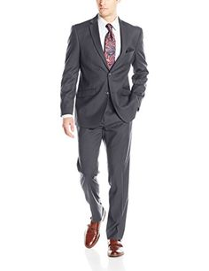 Lazetti Couture Men's Single Breasted Suit, Grey, 48 Regular