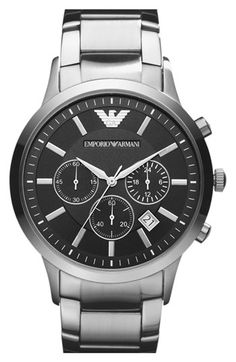 Emporio Armani Stainless Steel Bracelet Watch, 43mm available at #Nordstrom