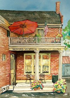 Medford Memorial Community Center, Medford, NJ watercolor, private collection