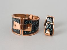 Vintage Matisse Hinged Cuff and Earrings   Black and Turquoise Enamel  Book Piece!