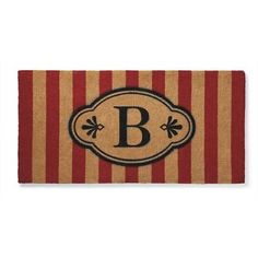 Ameile Red Cabana Stripe Monogrammed Mat - Frontgate