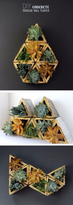 43 DIY concrete crafts - Concrete Modular Geometric Wall Planters - Cheap and creative countertops and ideas for floors, patio and porch decor, tables, planters, vases, frames, jewelry holder, home decor and DIY gifts. http://diyjoy.com/diy-concrete-crafts-projects