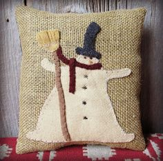 Burlap Pillow Snowman Wool Applique
