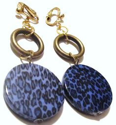 3 Gold Plated Full Round Blue Leopard Print Dangle by ADKOR, $5.99
