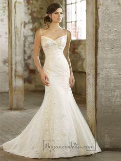 Spaghetti Strpas Ruched V-neckline Trumpet Taffeta Wedding Dresses