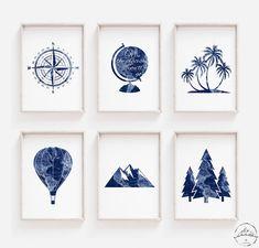 Map Nursery, Travel Nursery, Nursery Wall Decor, Nursery Collage, Travel Gallery Wall, Travel Wall Art, Bedroom Prints, Bedroom Themes, Travel Theme Decor