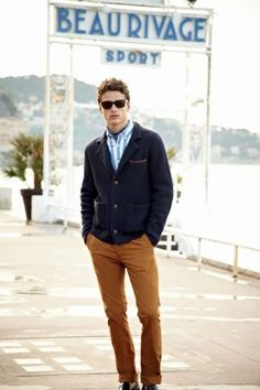 A navy cardigan and a deep caramel pant- nicely done.