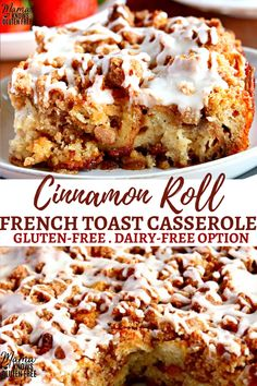 gluten free recipes An easy gluten-free breakfast casserole with your favorite flavors from cinnamon rolls and french toast! This Cinnamon Roll French Toast Casserole can be made the same day or overnight. The recipe also has a dairy-free option. Gluten Free Breakfast Casserole, Gluten Free Recipes For Breakfast, Gluten Free Sweets, Gluten Free Baking, Dairy Free Recipes, Gluten Free Cinnamon Rolls, Diet Recipes, Dairy Free Bread Pudding Recipe, Gluten Free Potluck