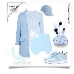 """BLUEBLUEBLUE"" by panniiee ❤ liked on Polyvore featuring NIKE, Warehouse, Glamorous, Aéropostale, Miu Miu, Clé de Peau Beauté and topic"