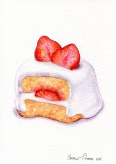 Strawberry Cake   ORIGINAL Painting Dessert от ForestArtStudio: