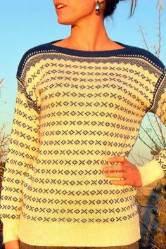 Women's Vintage White and Blue Ski Sweater on Etsy, Sold