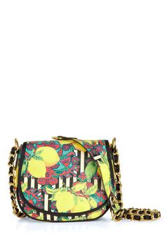 Betsey Johnson Fruits of Your Flavor Bag by Betsey Johnson - Stripes, Novelty Print, Chain, Fruits, Multi, Yellow, Statement