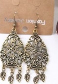 Bohemian style hollow metal leaf earrings $8.95