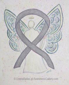 Silver Awareness Ribbon Guardian Angel Art Painting
