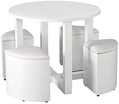New Space Saving Dining Wooden Table And 4 Chairs Set Small Space White Gloss Table Dining Furniture Sets. Fashion is a popular style Wooden Dining Tables, Dining Table Chairs, White Dining Set, Dining Furniture Sets, Eiffel Chair, Caravan Renovation, Space Saving, Small Spaces, Room Decor