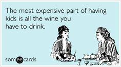 Kids children expensive wine humor