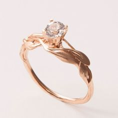 This is what I want to be proposed to with. <3 {Leaves Engagement Ring  14K Rose Gold and Diamond by doronmerav, $850.00}