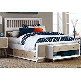 NE Kids East End Full Spindle Storage Bed in White and Taupe deals week