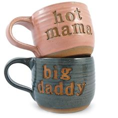 His and hers. Need these soon for those long nights with baby. Mornings with a newborn. Love them :) Hot Mama Big Daddy coffee mugs. Unique Coffee Mugs, Coffee Love, Coffee Cups, Coffee Girl, Drink Coffee, Yennefer Of Vengerberg, Retro Gifts, Cute Mugs, Mugs Set