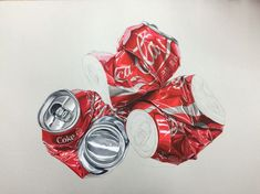 Hyperrealism/ Crushed can/ CocaCola/ Poster Color/ Colored pencil/ Marker Food Drawing, Painting & Drawing, Watercolor Painting, Hyperrealistic Art, Art Base, Realistic Drawings, 2d Art, Heart Art, Conceptual Art