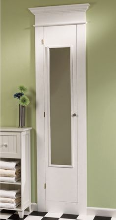 Here is how to build this full length medicine cabinet for your bathroom. Here is how to build this full length medicine cabinet for your bathroom. Bathroom Closet, Bathroom Renos, Bathroom Renovations, Master Bathroom, Bathroom Makeovers, Bathroom Vanities, Bathroom Ideas, Bathroom Fixtures, Tall Bathroom Cabinets