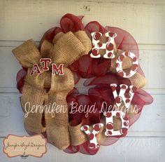 Texas A ATM Aggies Howdy Deco Mesh Wreath by JenniferBoydDesigns, $65.00
