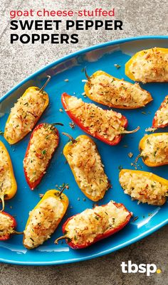 Tired of making the same old jalapeño poppers? Give these goat cheese-stuffed sweet pepper poppers a spin – and don't worry, they still have a little kick from red pepper flakes.