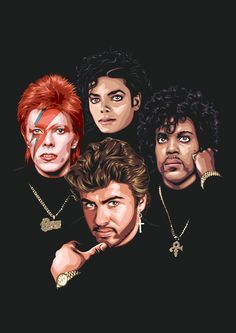 RIP: David Bowie, George Michael, Michael Jackson, and Prince Rogers Nelson Pop Punk, Invincible Michael Jackson, First Ladies, Michael Jackson Art, Michael Jackson Cartoon, Black Art Pictures, Jackson's Art, The Jacksons, Roger Nelson