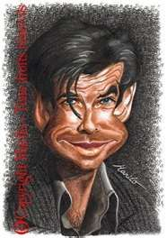 ~~like it~~ Pierce Brosnan Funny Caricatures, Celebrity Caricatures, Celebrity Drawings, Celebrity Pictures, Cartoon Faces, Funny Faces, Cartoon Art, Cartoon Drawings, Caricature Artist