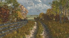 Title  Country Lane In Fall   Artist  Jayne Wilson   Medium  Digital Art - 3d Digital Rendering