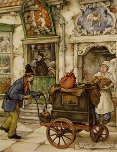 Anton Pieck. Anton Pieck, Love Illustration, Historical Art, Dutch Artists, Indigenous Art, Art Pictures, Cute Art, Painting & Drawing, Vintage Art