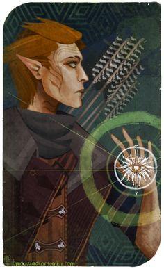 OC: DA:I Tarot Card - Felros Lavellan by Mossygator