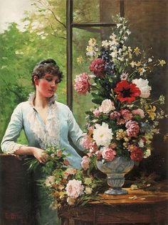 A Young Woman preparing flowers, 1886 (Édouard Debat-Ponsan) (1847-1913) Location TBD