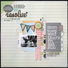 Family resolve by Stacey Michaud  Love the mini album of journaling cards on the layout!