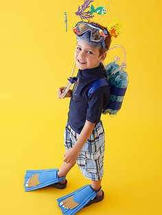"""Don't put your child's summer swim gear into storage quite yet--use it for this DIY scuba diver costume! Add 2-liter soda bottles for """"air tanks."""" #Halloween"""