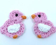 Easter chicks Easter appliques  6 small crochet birds