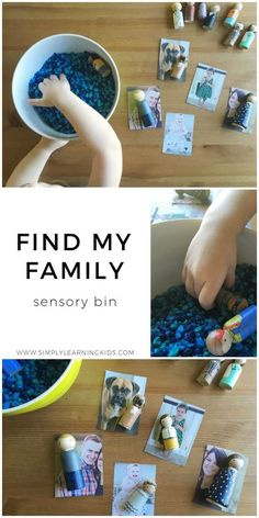 Find My Family Sensory Bin - Helping your child match figures to realistic photos of objects. Source by simply_learning and me activities Toddler Themes, Toddler Crafts, Preschool Crafts, Kids Crafts, Preschool Alphabet, Daycare Crafts, Montessori Activities, Family Activities, Preschool Activities