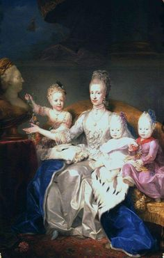 Grand Duchess Maria Luisa with her children pointing to a bust of Empress Maria Theresa by Mengs circa 1770.jpg